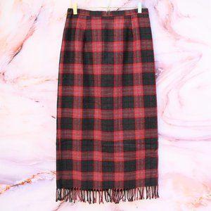 Vintage 90s Plaid Fringe Midi Skirt Sz 10